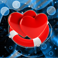 Two red hearts in life buoy