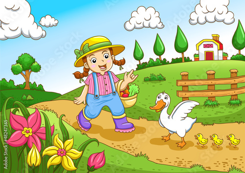 Cute little farmers girl