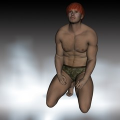 uomo nudo in ginocchio
