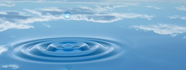 Conceptual blue water drop falling background