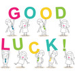 Businessmen, letters, GOOD LUCK, text, message