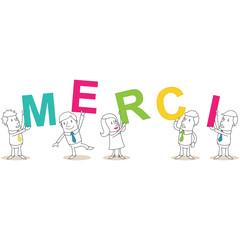 Geschäftsleute, Buchstaben, MERCI, text, nachricht