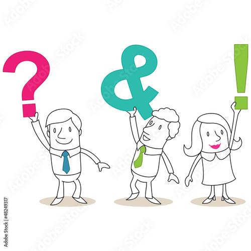 Geschäftsleute, Buchstaben, ? & !, FAQ, Fragen, Antworten
