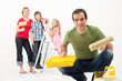 Family with kids redecorating their home