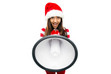 Sexy Fashion Model in red shouting on megaphone wearing Christma