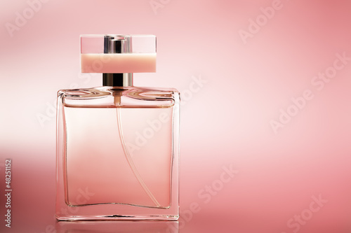 Poster Perfume on pink background