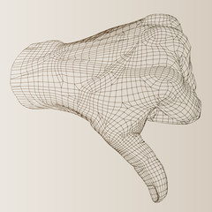 High resolution conceptual human wireframe hand with thumb down