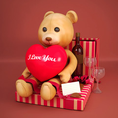 Teddy bear and gift