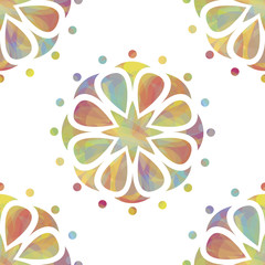 Colorful floral seamless over white background