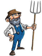 Cartoon farmer with a pitchfork