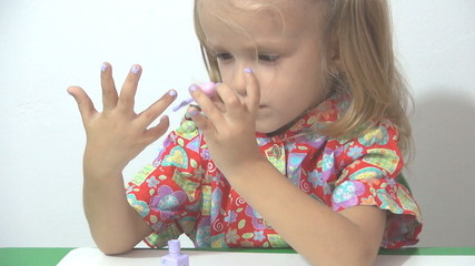 Little Girl Painting her Nails, Girl Playing With Polish Nails