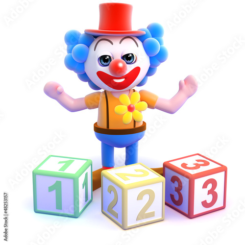 Clown counts with wooden blocks