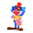 Clown eats popcorn at the 3d movie
