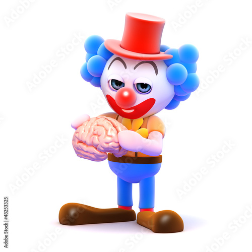 Clown has a brain in his hands
