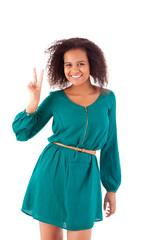 Beautiful afro woman doing peace signal