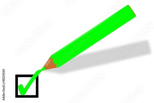 grüner Buntstift setzt grünen Haken