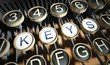 Typewriter with Keys buttons, vintage