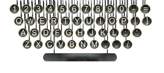 Typewriter keys, vintage keyboard isolated white