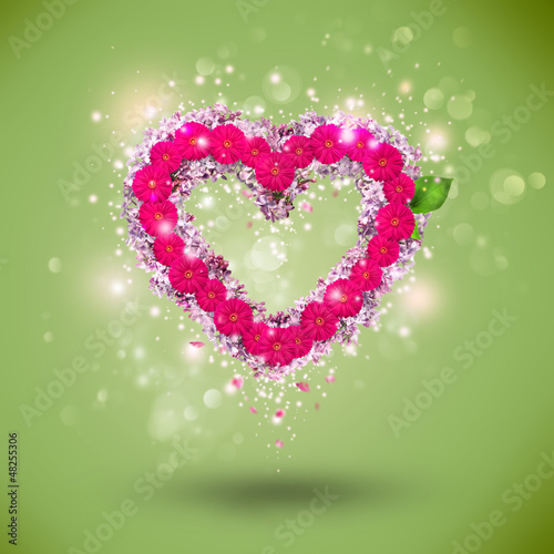 Valentine background: single heart made of flowers