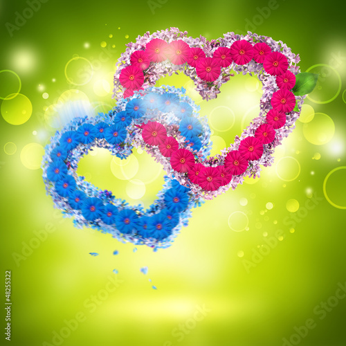 Valentine background: two hearts made of flowers
