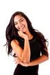 Beautiful mix race woman posing over white background