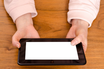 Hände mit Tablet Computer