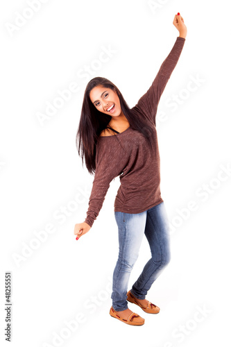 Beautiful mix race woman posing over white background