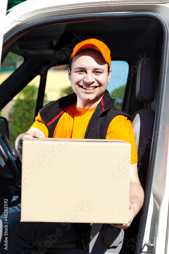 Young delivery man portrait