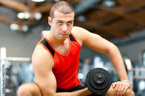 Man working out at the gym