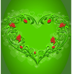 Pattern in the form of hearts on a bright green background