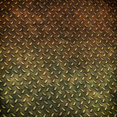 Grunge metal diamond plate background or texture