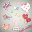 Vector Illustration of Valentine Elements