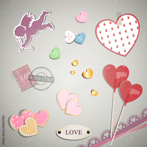 Vector Illustration of Valentine Elements