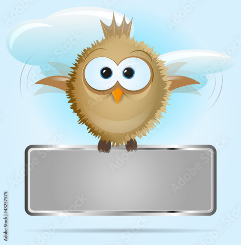 Vector background with a bird and board for text