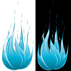Blue flame on black or white background