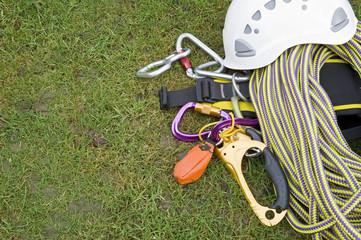 rock climbing equipment on grass