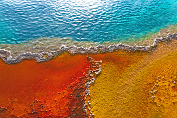 Beautiful colors in a geyser pool, Yellowstone