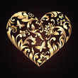 Valentine day decorative ornate heart with floral pattern