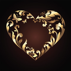 lovely carved Valentine Day gold floral heart frame