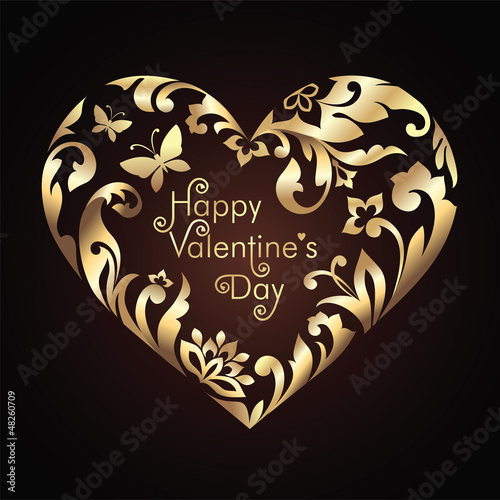 Valentine's day greeting  with golden floral ornate heart