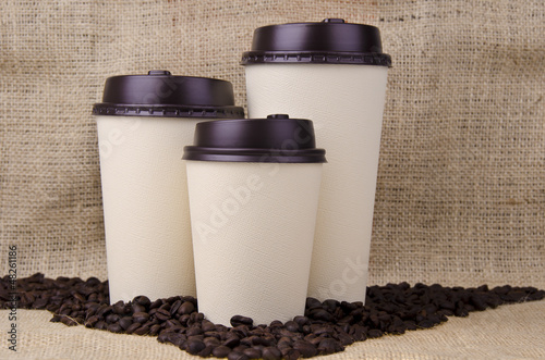 Foto op Canvas Cafe Disposable coffee cups
