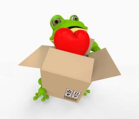rana con Corazón dentro caja de carton