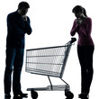 couple woman man sad with empty shopping cart silhouette