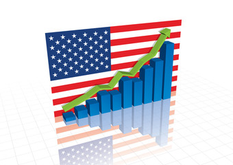 Economic recovery, American stocks trading up (vector)