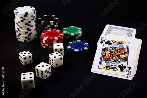 Poker Chips, Dice, and Cards