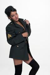 Suggestive military woman