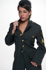 Woman in military clothing