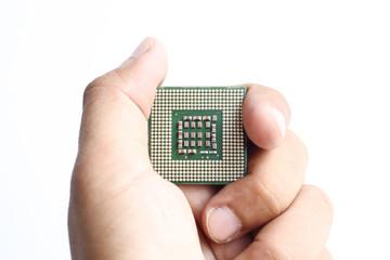 hand holding CPU