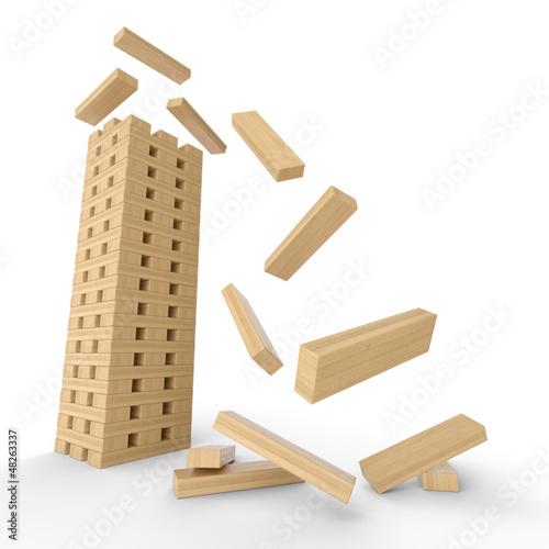 Holzturm aus Bauklötzen in Bewegung