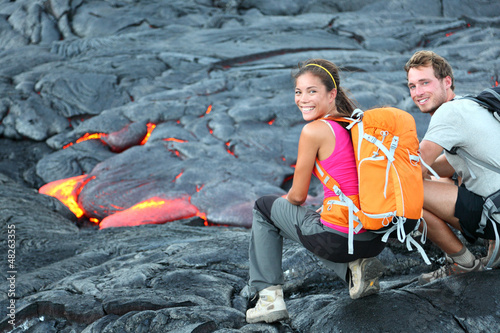 Hawaii lava tourist hiking portrait